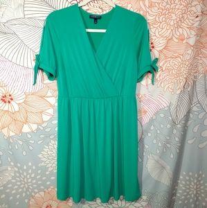 Lane Bryant Cheerful Green Faux Wrap Dress 14/16
